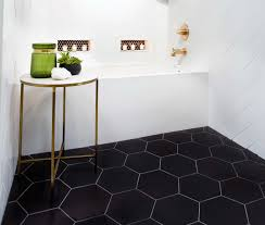 geometrical design bathroom floor tile black hex porcelain floor