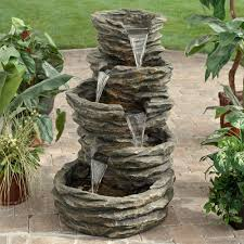 alpine five level rock pond waterfall indoor outdoor fountain
