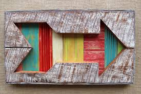 framed arrow wall art reclaimed barn board wood painted 3d