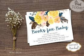 Bring Book Instead Of Card To Baby Shower Instant Download Orange Yellow Fall Floral Book Request Card