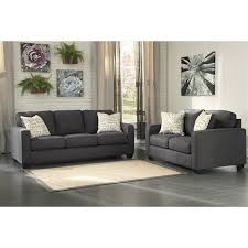 ashley alenya 2 piece sofa set in charcoal 16601 38 35 pkg