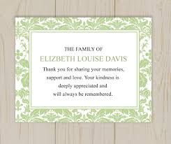 funeral card damask funeral thank you card printable digital file