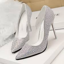 2015 new arrival pointed toe diamond shoes wedding shoes silver