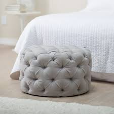 Tufted Round Ottoman Coffee Table by Belham Living Allover Round Tufted Ottoman Grey Hayneedle