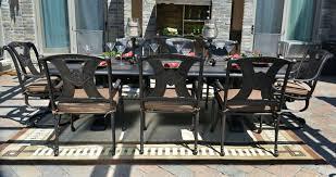 Black Cast Aluminum Patio Furniture Dining Chairs White Aluminum Patio Dining Set White Aluminum