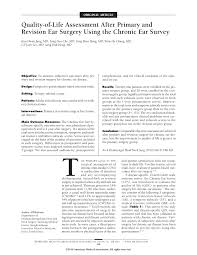 quality of life assessment after primary and revision ear surgery