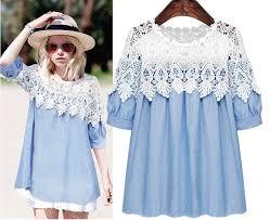 2016 plus size women femininos denim lace tunic dress o neck a