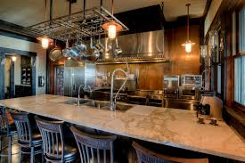 copper back splash home bar rustic with ceiling lighting copper