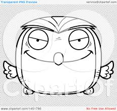 clipart graphic of a cartoon black and white lineart evil owl