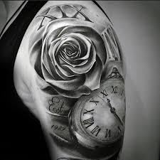 unique shoulder tattoos roses clock tattoos