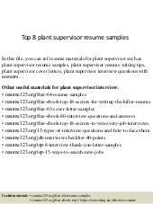 Plant Supervisor Resume Top 8 Plant Supervisor Resume Samples