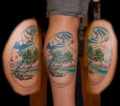paradise leg tattoo by hannah wolf at castro tattoo and piercing