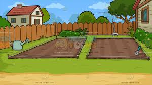empty backyard vegetable garden background cartoon clipart