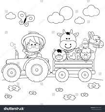 farmer boy driving tractor carrying farm stock vector 678014941