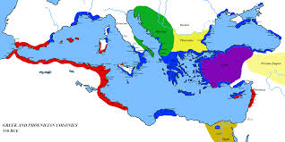 Greece World Map greek and phoenecian colonies about 550 bc full size