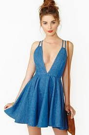 nasty gal summer days denim dress in blue lyst