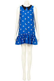 topshop squirrel print collar dress in blue lyst