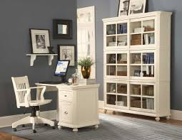inspiring white wooden office furniture combine grey wall paint