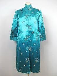 vintage women blue silk oriental design chinese kimono dress tunic siz