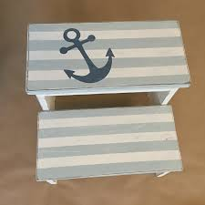 Americana Decor Chalky Finish Paint Lace by Nautical Striped Step Stool Project By Decoart