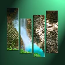 Home Decor Waterfalls by 4 Piece Brown Scenery Home Decor Wall Art