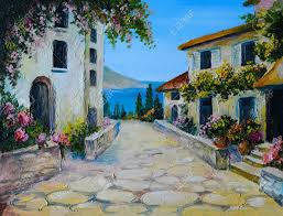 beautiful house wallpaper oil painting on canvas of a beautiful houses near the sea