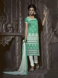 green chanderi cotton embroidered straight cut designer churidar