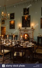 Dining Room With Laid Candle Lit Table In Th Century Irish - Castle dining room