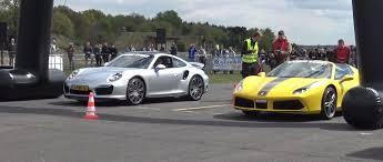 vs porsche 911 turbo 488 spider vs porsche 911 turbo s drag race gets strange