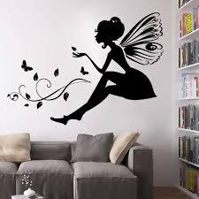 stickers de pour chambre noir fées des fleurs stickers muraux pour chambre à coucher