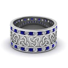 celtic mens wedding bands celtic wedding bands white diamond with blue sapphire in 14k white