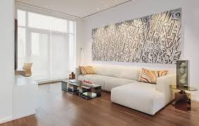 architecture living room with white l shape sofa and artistic