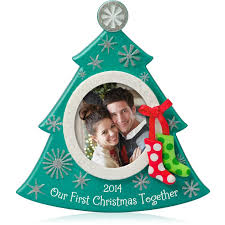 amazon com hallmark qgo1173 our first christmas photo 2014