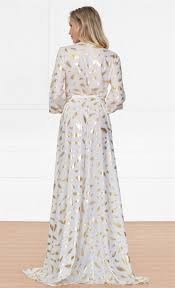 gold maxi dress xo fairytale white gold feather sleeve plunge v