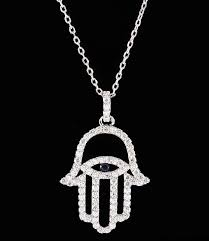 outlined hamsa evil eye cubic zirconia necklace cult