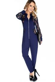 zipper jumpsuit navy sleeves front zipper jumpsuit