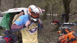 dirt bike motocross videos novoulianovka russia march 25 2017 young boy with his father