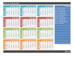 2016 yearly calendar one page with holidays printable