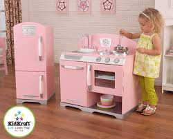 pretend kitchen furniture kidkraft retro kitchen and refrigerator in pink toys