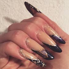 christmas gothic almond shaped acrylic nails with handpainted