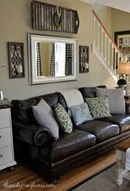 Furniture Layout Ideas  Balance And Symmetry Couch Sofa Brown - Living room design with brown leather sofa