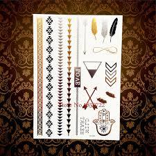 love chains gold henna temporary tattoo hamsa fatima hand eye