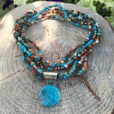 blue bead necklace images Multi strand beaded turquoise necklace with blue turquoise pendant jpg