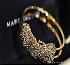 bracelet luxury crystal images Luxury crystal bowknot cuff bangle gold silver plated bangles jpg