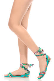 sea foam faux leather floral wrap around sandals cicihot sandals