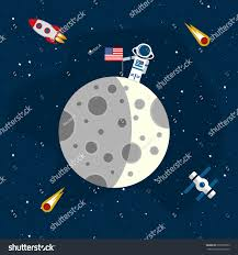 American Flag On The Moon Moon Background Open Space Astronaut American Stock Vector