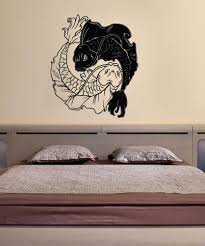asian decor vinyl wall decal sticker koi fish yin yang 1461