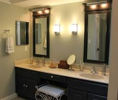 gray wall paint mirror with black wooden frame white granite