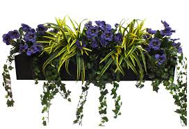 artificial pansy and dracaena window box at evergreen direct