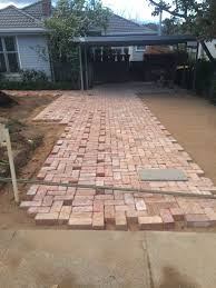 Basket Weave Brick Patio by Driveway Paving Using Old Canberra Red Bricks Recycled Canberra